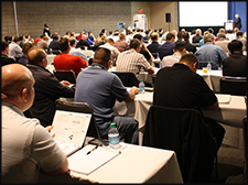 A room full during a speaker conference.