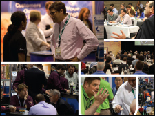Collage showing people interacting at a wire and cable industry event.